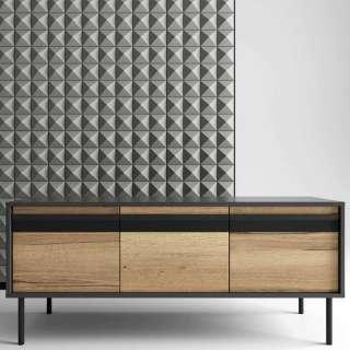 Design Sideboard in Anthrazit und Eiche Optik 50 cm tief