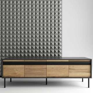 Design Lowboard in Anthrazit und Eiche Optik vier Schubladen