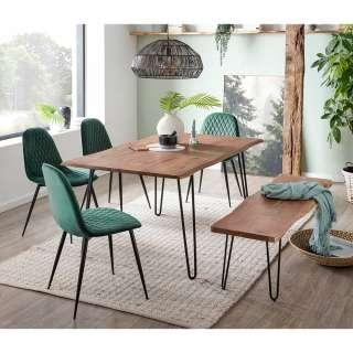 Esszimmergarnitur mit Baumkante Akazie massiv Stühlen in Dunkelgrün (6-teilig)
