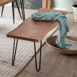 Baumkanten Sitzbank aus Akazie Massivholz Loft Style