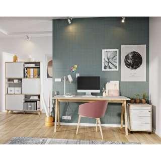Wohnzimmer Wohnwand in Weiß Hochglanz Eiche dunkel LED Beleuchtung (6-teilig)