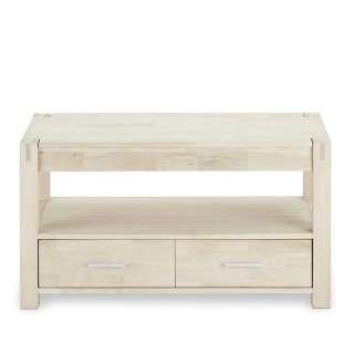 TV Möbel in Eiche Bianco geseift zwei Schubladen