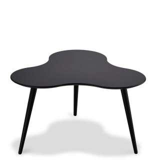 Design Couchtisch in Schwarz gebogener Tischplatte