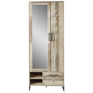 Garderobenschrank in White Wash Altholz Optik Spiegel