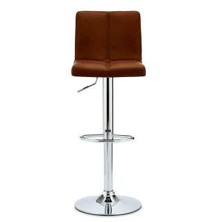 Höhenverstellbare Barstühle in Cognac Braun Kunstleder Chromfarben (2er Set)