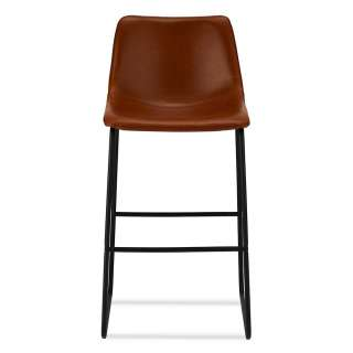 Barstühle in Cognac Braun Kunstleder Bügelgestell (2er Set)