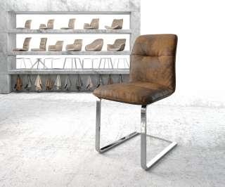 DELIFE Esszimmerstuhl Vinjo-Flex Braun Vintage Freischwinger flach verchromt, Esszimmerstühle