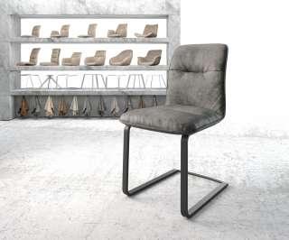 DELIFE Esszimmerstuhl Vinjo-Flex Grau Vintage Freischwinger flach schwarz, Esszimmerstühle