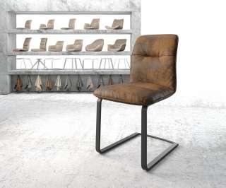 DELIFE Esszimmerstuhl Vinjo-Flex Braun Vintage Freischwinger flach schwarz, Esszimmerstühle