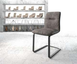 DELIFE Esszimmerstuhl Vinjo-Flex Anthrazit Vintage Freischwinger flach schwarz, Esszimmerstühle
