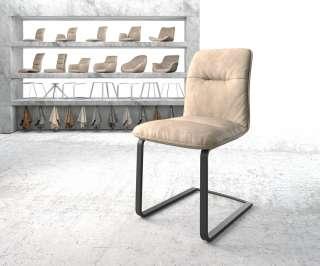DELIFE Esszimmerstuhl Vinjo-Flex Beige Vintage Freischwinger flach schwarz, Esszimmerstühle