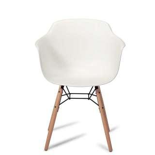 Armlehnenstühle in Weiß Kunststoff und Buche Massivholz (2er Set)