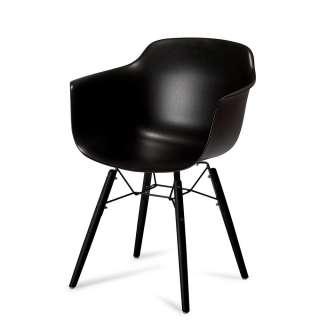 Armlehnenstühle in Schwarz Kunststoff und Buche Massivholz (2er Set)