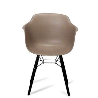 Kunststoff Stühle in Taupe Armlehnen (2er Set)