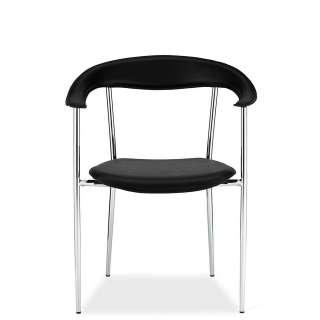 Stühle in Schwarz und Chromfarben Armlehnen (4er Set)