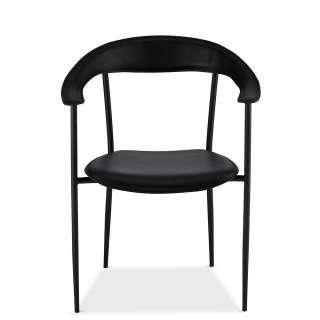 Armlehnenstühle in Schwarz Kunstleder Metallgestell (4er Set)