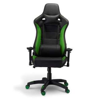 Schreibtischsessel in Schwarz und Grün Lendenwirbelstütze