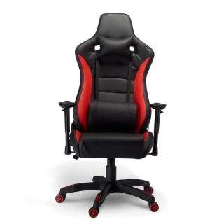 Bürodrehstuhl in Schwarz und Rot Lendenwirbelstütze