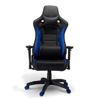 Computerstuhl in Schwarz und Blau Lendenwirbelstütze