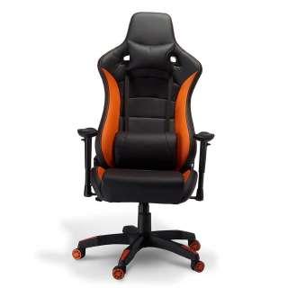 Ergonomischer Bürostuhl in Schwarz und Orange verstellbarer Lehne