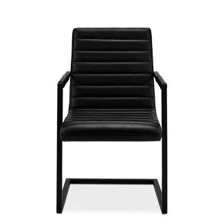 Schwingstühle in Schwarz Kunstleder Armlehnen (2er Set)