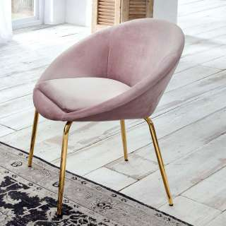 Samt Esstisch Stühle in Altrosa Retrostil