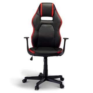 Chefsessel in Schwarz und Rot verstellbarer Rückenlehne
