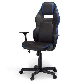 Bürodrehstuhl in Schwarz und Blau verstellbarer Rückenlehne