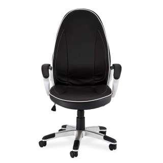 Armlehnen Bürostuhl in Schwarz und Silberfarben verstellbarer Rückenlehne