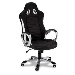 Racer Bürostuhl in Schwarz und Weiß verstellbarer  Rückenlehne