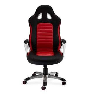 Racer Schreibtischstuhl in Rot und Schwarz verstellbarer Rückenlehne