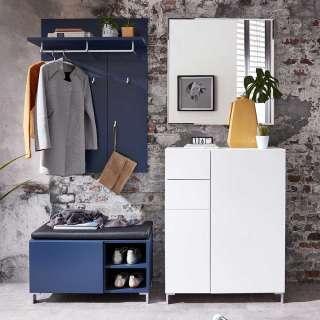 Garderobe in Blau und Weiß 160 cm breit (4-teilig)