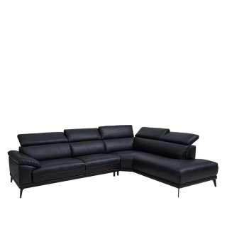 Wohnzimmer Sofa in Schwarz verstellbarer Rückenhöhe