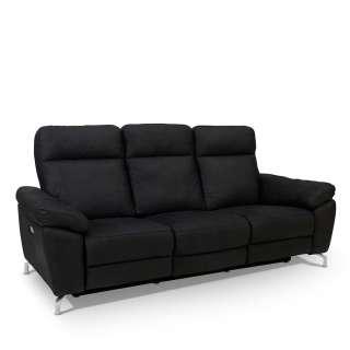 Wohnzimmercouch mit Relaxfunktion Schwarz Microfaser