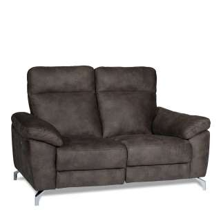 Couch mit Relaxfunktion Grau Microfaser