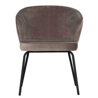 Armlehnenstühle mit Samtbezug Khaki (2er Set)