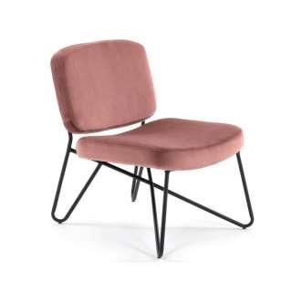 Loungesessel in Rosa Samt modern (2er Set)