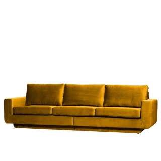 Dreisitzer Couch in Ocker Samt Retrostil