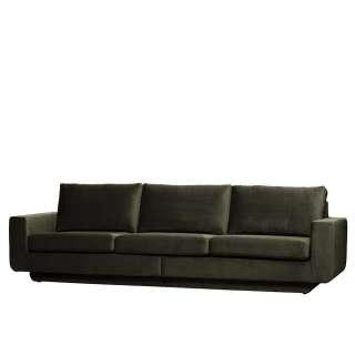 Samt Sofa in Dunkelgrün Retro Look