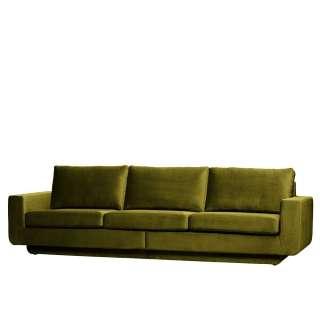 Couch in Oliv Grün Samt Retrostil