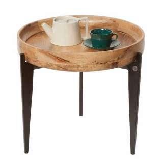 Beitisch mit Tablettfunktion runder Massivholzplatte