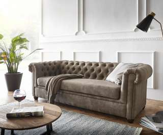 DELIFE Sofa Chesterfield 200x88 Taupe Wildlederoptik 3-Sitzer Couch, Chesterfields