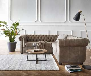 DELIFE Ecksofa Chesterfield 210x206 cm Taupe Abgesteppt, Chesterfields