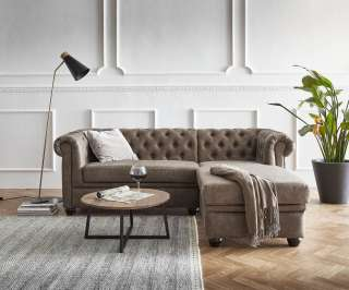 DELIFE Sofa Chesterfield 209x160 cm Taupe Abgesteppt Ottomane Rechts, Chesterfields