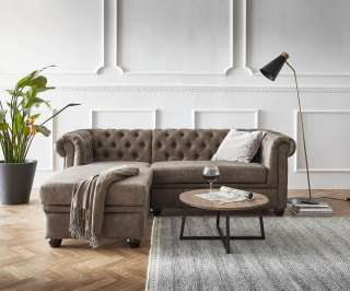 DELIFE Sofa Chesterfield 209x160 cm Taupe Abgesteppt Ottomane Links, Chesterfields