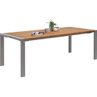 Amatio GARTENTISCH Holz, Metall Silber, Braun