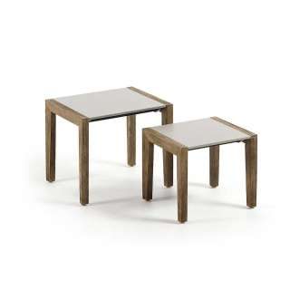 Sofa Beistelltische in Hellgrau und White Wash modern (2-teilig)