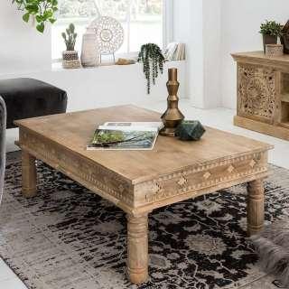 Designertisch aus Mangobaum Massivholz Schnitzereien versehen