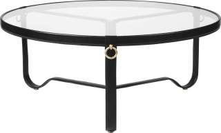 Gubi - Adnet Coffee Table - schwarzes Leder - Circular ø 100 - indoor