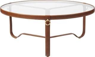 Gubi - Adnet Coffee Table - hellbraunes Leder - Circular ø 100 - indoor